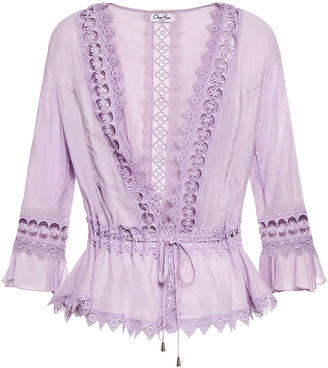 Charo Ruiz Ibiza Crocheted Lace-trimmed Cotton-blend Voile Jacket