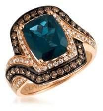 LeVian Le Vian 14K Strawberry Gold? Deep Sea Blue TopazTM, Chocolate Diamonds? and Vanilla Diamonds? Swirl Cushion Ring