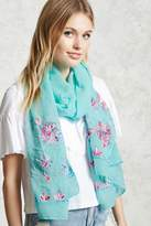 Forever 21 FOREVER 21+ Floral Embroidery Oblong Scarf