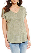 Miss Me Macrame Shoulder V-Neck Top