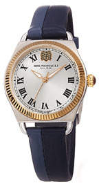 Bruno Magli Lucia 31mm Watch w/ Fluted Bezel & Leather Strap, Medium Blue
