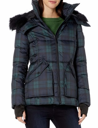 French Connection Women's Faux-Fur Trim Menswear Plaid Statement Puffer