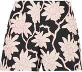 Valentino Printed Wool And Silk-blend Shorts - Black