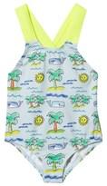 Stella McCartney Pale Blue Palm Tree Print Swimsuit