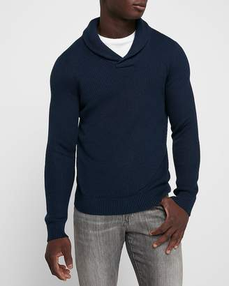 Express Ribbed Shawl Collar Popover Sweater