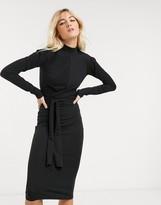 AllSaints veronika long sleeve tie waist jersey midi dress in black