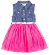 Little Lass Belted Sleeveless Tutu Dress - Toddler Girls