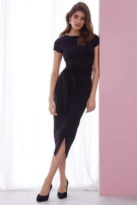 Lipsy Petite Self Tie Bodycon Dress - 10 - Black