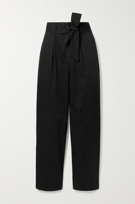 Alex Mill Belted Pleated Cotton-blend Tapered Pants - Black