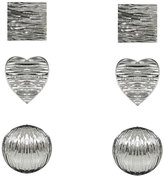Yours Clothing 3 PACK Silver Square, Heart & Circle Stud Earrings