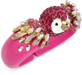 Betsey Johnson Gold-Tone Multi-Stone Parrot Fuchsia Hinged Bangle Bracelet