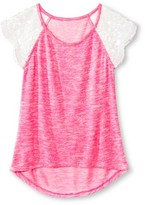 Miss Chievous Girls' Lace Cap Sleeve Knit Top
