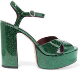 Marc Jacobs Debbie Glittered Leather Platform Sandals - Emerald