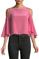 Bailey 44 Sun Drop Flounce-Sleeve Silk Chiffon Top