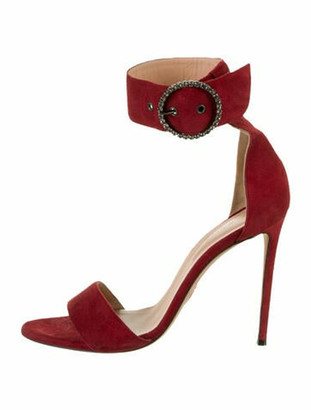 Oscar Tiye Suede Crystal Embellishments Sandals Red