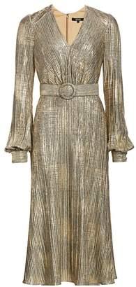 Badgley Mischka Plisse Foil Metallic Belted Puff-Sleeve A-Line Midi Dress