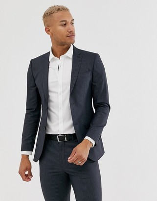 Topman suit jacket in navy pinstripe