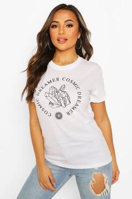 boohoo Petite 'Cosmic Dreamer' Slogan T-Shirt