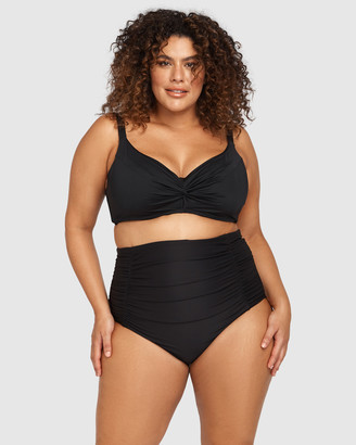 Artesands - Women's Black Briefs - Hues Black Raphael High Waist Ruched Swim Pant - Size One Size, 14 at The Iconic