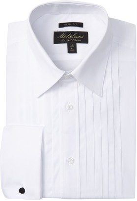 Michelsons Solid Pleated Slim Fit Tuxedo Dress Shirt