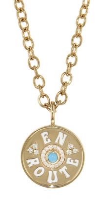 Marlo Laz Mini White Enamel En Route Coin Necklace - Yellow Gold