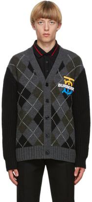 Burberry Black and Grey Check Sante Cardigan