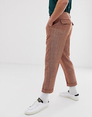 ASOS DESIGN tapered smart trousers in orange herringbone