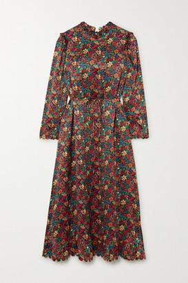 Horror Vacui Vestia Scalloped Floral-print Silk-satin Midi Dress - Burgundy