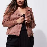 River Island Womens Plus dark pink faux suede biker jacket