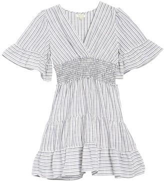 Max Studio Smocked Waist Stripe Mini Dress