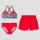 Xhilaration Girls' Tribal Print Bikini Set with Shorts Pink XS
