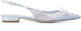 Rene Caovilla Crystal-Embellished Low-Heel Pumps