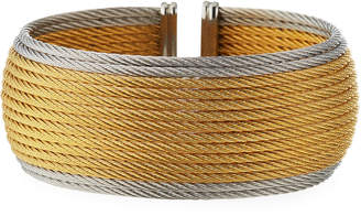 Alor Wide Multi-Row Cable Cuff Bracelet, Steel/Yellow