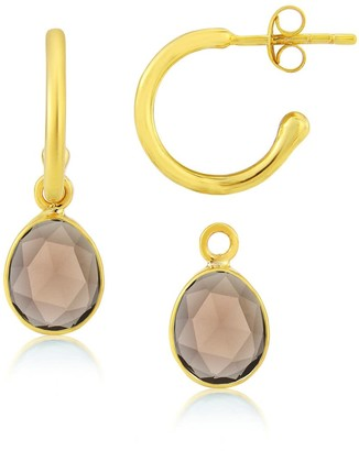 Auree Jewellery Manhattan Gold & Smokey Quartz Interchangeable Gemstone Hoop Earrings