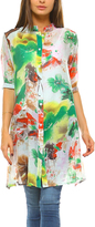 Green & White Sheer Floral Button-Up Tunic - Plus Too