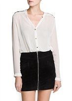 MANGO Embellished shoulder chiffon shirt