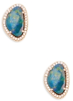 Artisan Slice Opal & Diamond Stud Earrings