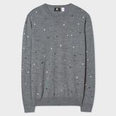 Paul Smith Men's Grey Embroidered-Dot Merino-Wool Sweater
