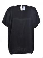 designer silk ties zx0g  Bonnie Fechter BLACK SANDWASHED SILK TIE TEE