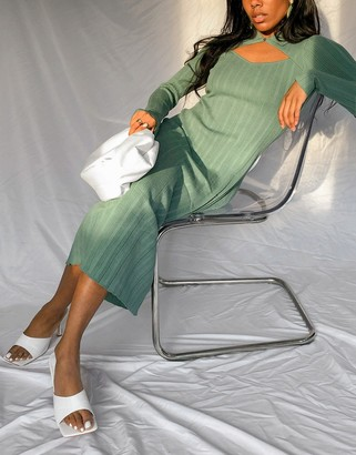 And other stories & eco ribbed knitted cut-out maxi dress in green