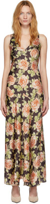 Paco Rabanne Multicolor Satin Rose Dress