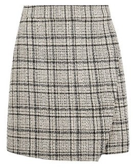 Dorothy Perkins Womens Camel Check Print Boucle Mini Skirt