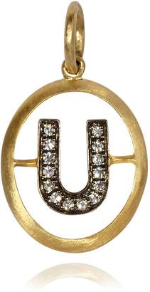 Annoushka Yellow Gold and Diamond Initial U Pendant