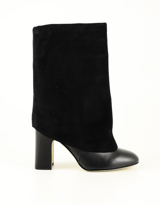 Stuart Weitzman Black Leather and Suede Fold-Over Boots