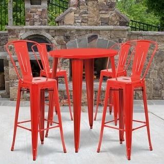 """Lancaster Home 30"""" Round Metal Indoor-Outdoor Bar Table Set with 4 Cafe Stools - 30""""W x 30""""D x 41""""H - 30""""W x 30""""D x 41""""H"""