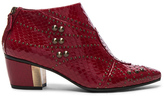 Rodarte Embossed Studded Leather Booties in Animal Print,Red.
