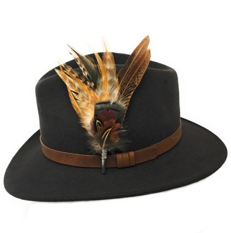 Cotswold Country Hats Women's Wool Fedora Hat with Leather Belt Trim and English Country Feather Brooch (Extra Large - 61cm