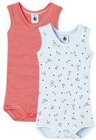 Petit Bateau Pack of 2 baby boy bodysuits with straps