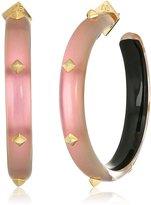 Alexis Bittar Gold Studded Rose Hoop Earrings