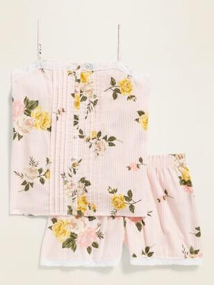 Old Navy Floral-Print Lace-Trim Pajama Cami & Pajama Shorts Set for Women